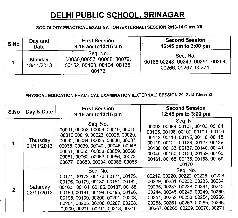 Class XII Sociology Practical Examination (External) 2013 Datesheet
