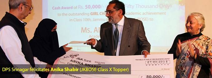 DPS Srinagar felicitates Anika Shabir (JKBOSE Class X Topper)