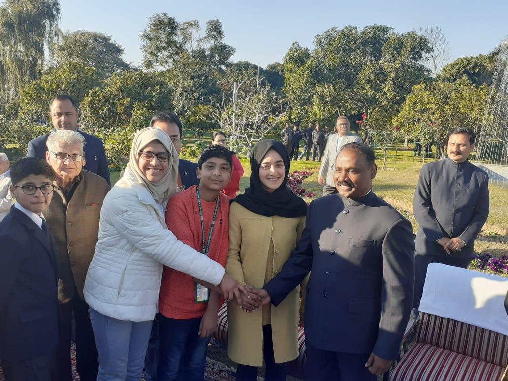 Lt Governor felicitates DPS Srinagar students