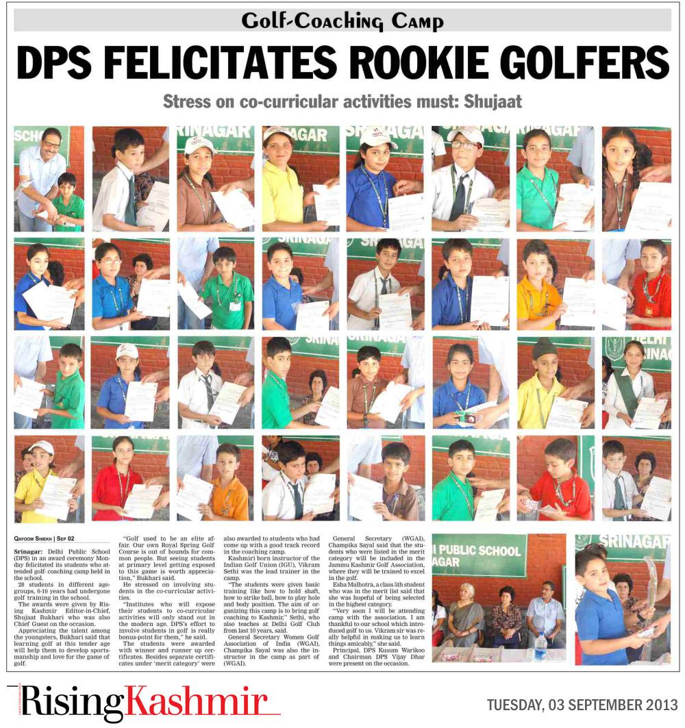 DPS felicitates rookie golfers